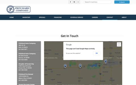 Screenshot of Contact Page Locations Page pritchards.com - Pritchard's North Iowa Serving Mason City, IA | Dodge, Buick, Ram, Chevrolet, Jeep, Ford, Chrysler, GMC, Cadillac, New, Used Cars - Contact Us - captured Sept. 22, 2018