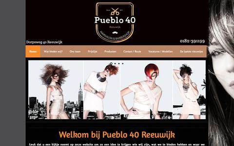 Screenshot of Home Page pueblo40.nl - Kapsalon Pueblo 40 Reeuwijk - captured Oct. 14, 2018