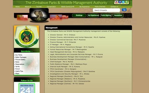 Screenshot of Team Page zimparks.org - Management - captured Nov. 5, 2014