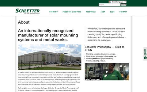 Screenshot of About Page schletter.us - About | Schletter Group - captured Oct. 2, 2018