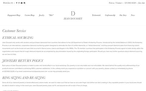 Screenshot of Support Page jeandousset.com - Customer Service - Jean Dousset Diamonds - captured Nov. 26, 2016