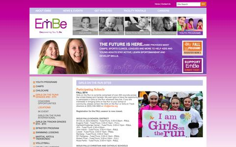Screenshot of Locations Page embe.org - Girls on the Run Sites - captured Oct. 4, 2014