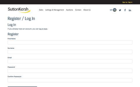 Screenshot of Signup Page suttonkersh.co.uk - Register / Log In | Sutton Kersh - captured Sept. 21, 2018