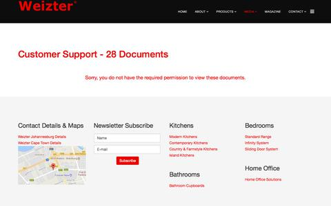 Screenshot of Support Page weizter.co.za - Customer Support | Weizter Kitchens | Weizter Kitchens - captured Sept. 20, 2018