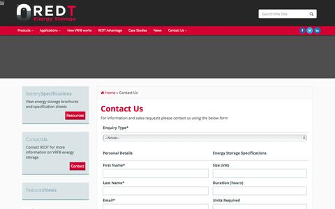 Screenshot of Contact Page redtenergy.com - Contact Us - REDT Energy Storage & Battery Technology Solutions - captured Aug. 11, 2015