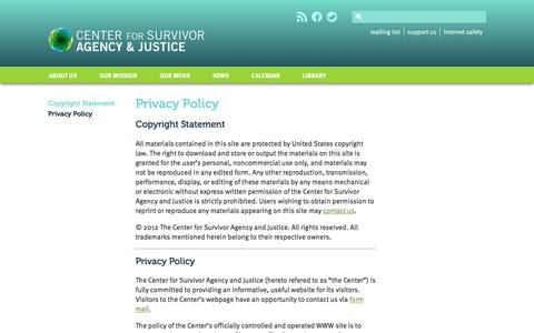 Screenshot of Privacy Page csaj.org - The Center for Survivor Agency and Justice: Privacy Policy - captured Oct. 30, 2016