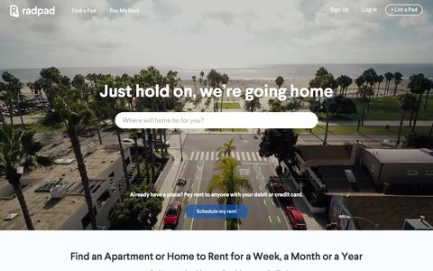 Screenshot of Home Page onradpad.com - RadPad: Find Apartments, Houses & Rooms for Rent - captured Feb. 9, 2016