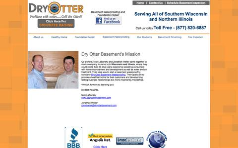 Screenshot of About Page dryotterbasement.com - Dry Otter Basement Waterproofing, Wisconsin & Illinois - captured Oct. 5, 2014