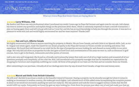 Screenshot of Testimonials Page playadelcarmenrealestatemexico.com - Testimonials – Playa Del Carmen - captured Sept. 8, 2019
