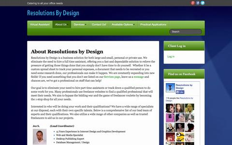 Screenshot of About Page resolutionsbydesign.com - About Us - Resolutions by Design - captured Oct. 7, 2014