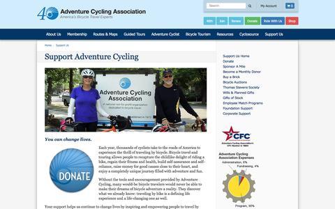 Screenshot of Support Page adventurecycling.org - Support Adventure Cycling | Support Us | Adventure Cycling Association - captured Sept. 27, 2016