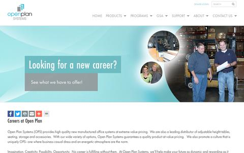 Screenshot of Jobs Page openplan.com - Careers - Open Plan Systems - captured Oct. 19, 2018