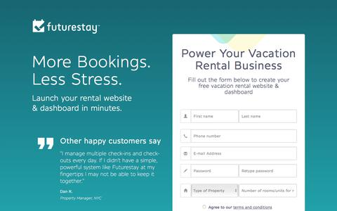 Screenshot of Signup Page futurestay.com - Futurestay | Try The Best Vacation Rental Management Tool, For Free! - captured June 6, 2017