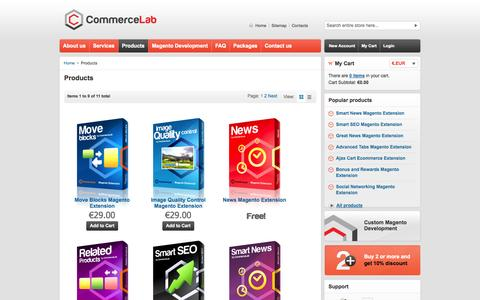Screenshot of Products Page commerce-lab.com - Products - captured Oct. 2, 2014