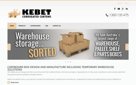 Screenshot of Home Page kebet.com.au - Cardboard Boxes, Packaging & Storage Cartons Melbourne - captured July 1, 2017