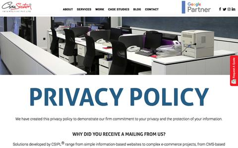 Screenshot of Privacy Page csipl.net - Cross Section Interactive Pvt Ltd.® | Privacy Policy - captured Dec. 5, 2019