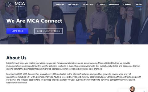 Screenshot of About Page mcaconnect.com - MCA Connect, Microsoft Gold Partner, ERP & CRM Providers - MCA Connect - captured July 15, 2019