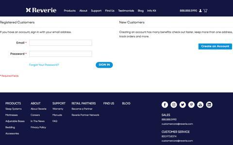 Screenshot of Login Page reverie.com - Customer Login - captured Sept. 20, 2018
