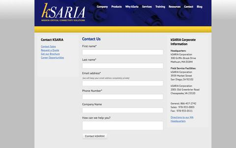 Screenshot of Contact Page ksaria.com - Contact kSARIA | Mission Critical Connectivity Solutions - captured May 9, 2017