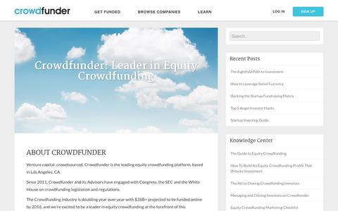 Screenshot of About Page crowdfunder.com - Crowdfunder Blog   Crowdfunder: Leader in Equity Crowdfunding - captured Jan. 13, 2016