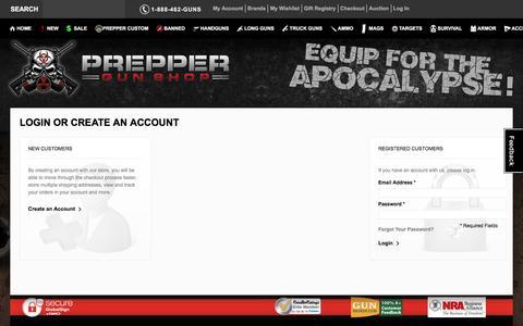 Screenshot of Login Page preppergunshop.com - Prepper Guns Customer Login Prepper Gun Shop - captured Jan. 18, 2016