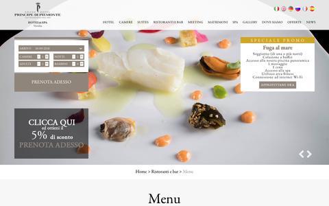 Screenshot of Menu Page principedipiemonte.com - I menu di Regina e Il Piccolo Principe, ristoranti a Viareggio Lungomare - captured Sept. 30, 2018