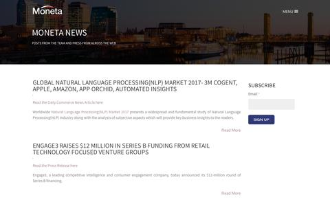 Screenshot of Press Page monetaventures.com - Moneta Ventures - News - captured Nov. 16, 2017