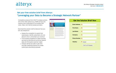 Screenshot of Landing Page alteryx.com - Leveraging your Data to Become a Strategic Network Partner - captured Feb. 22, 2016
