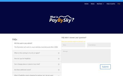 Screenshot of FAQ Page paybysky.com - FAQ | PayBySky - captured Oct. 22, 2016