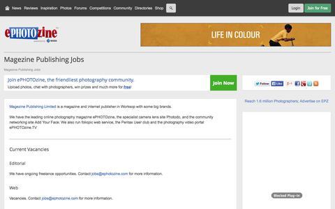 Screenshot of Jobs Page ephotozine.com - Magezine Publishing Jobs and vacancies - captured Oct. 30, 2014