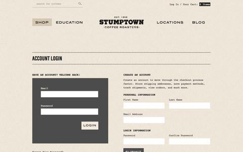 Screenshot of Login Page stumptowncoffee.com - Stumptown Coffee Roasters - Create New Customer Account - captured Sept. 24, 2014