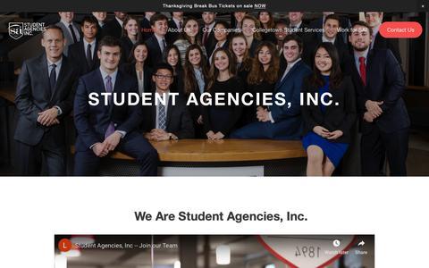 Screenshot of Home Page studentagencies.com - Student Agencies, Inc. - captured Oct. 20, 2018