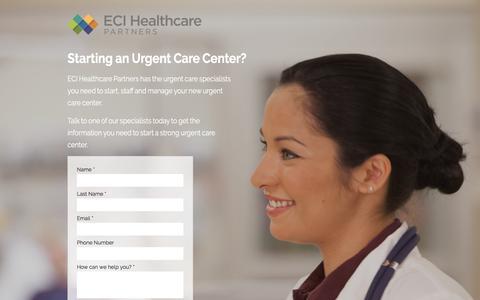 Screenshot of Landing Page ecihealthcarepartners.com captured March 4, 2018