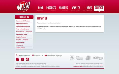 Screenshot of Contact Page wowstuff.co.uk - CONTACT US   Wow! Stuff - captured Sept. 17, 2014
