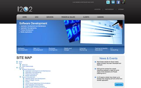Screenshot of Site Map Page i2o2.com - Software/Web/Mobile Application Development and Design - captured Sept. 30, 2014