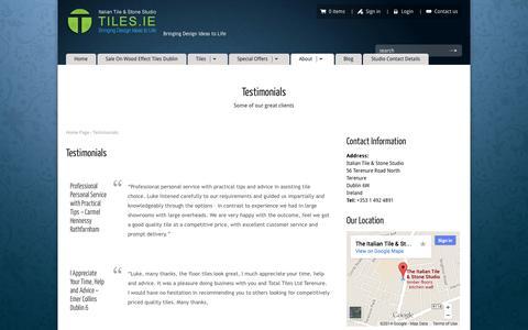 Screenshot of Testimonials Page tiles.ie - Customer Testimonials -Italian Tiles and Stone Studio Terenure - captured Oct. 6, 2014