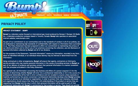 Screenshot of Privacy Page bumptv.com - Bump! The Ultimate Gay Travel Companion - captured Oct. 5, 2014