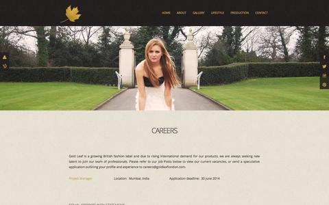 Screenshot of Jobs Page goldleaflondon.com - Gold Leaf | Fashion Inspired by Mother Nature - captured Oct. 2, 2014