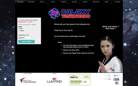 Screenshot of Trial Page galaxytaekwondo.co.uk - Galaxy Taekwondo - WTF style at its best - captured Oct. 27, 2014