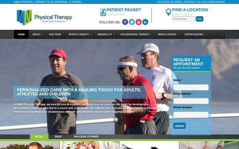 Screenshot of Home Page mmptnj.com - M&M Physical Therapy - captured Sept. 23, 2015