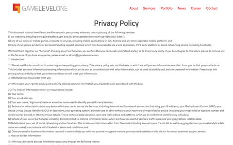 Screenshot of Privacy Page gamelevelone.com - Privacy Policy   GameLevelOne - captured May 15, 2017