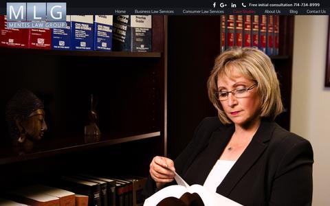 Screenshot of Case Studies Page mentislaw.com - Case Studies – Mentis Law Group - captured June 10, 2017