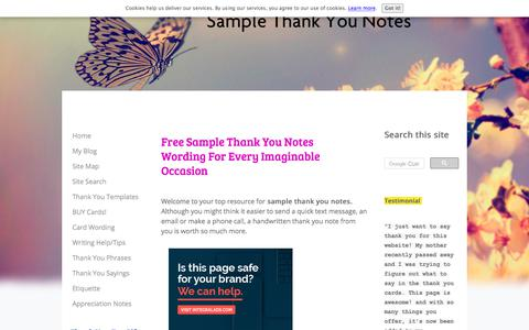 Screenshot of Home Page thank-you-note-examples-wording-ideas.com - Sample Thank You Notes Wording For Professional And Personal Use - captured Sept. 24, 2018