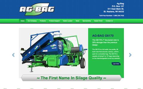 Screenshot of Home Page ag-bag.com - Ag-Bag Systems | St. Nazianz, WI | Home of the Ag Baggers - captured June 19, 2016