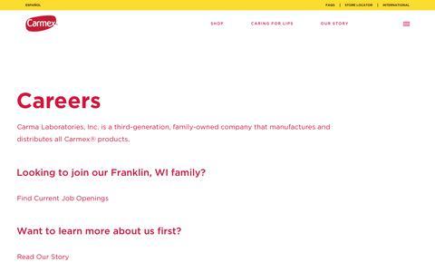Screenshot of Jobs Page mycarmex.com - Careers - Carmex - captured Sept. 27, 2018