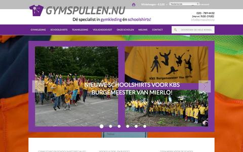 Screenshot of Home Page gymspullen.nu - Welkom bij de specialist in gymkleding en Schoolshirts! - captured Sept. 16, 2015