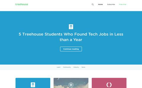 Screenshot of Blog teamtreehouse.com - Treehouse Blog - Learn skills to change the world today! - captured Jan. 11, 2016
