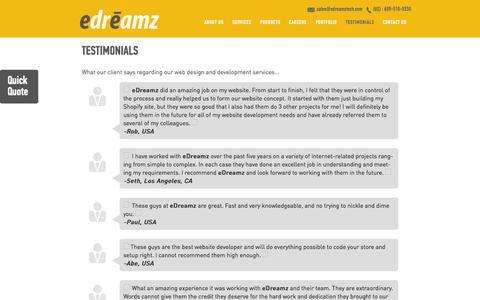 Screenshot of Testimonials Page edreamztech.com - Testimonials | Web Design, Development and Ecommerce Outsourcing Company, Edreamz Technologies - captured Oct. 2, 2014