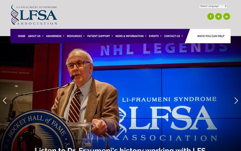 Screenshot of Home Page lfsassociation.org - Home – Li-Fraumeni Syndrome Association: LFS Patient Advocacy | Support | Research | Awareness - captured Sept. 25, 2018