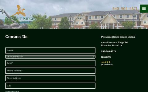 Screenshot of Contact Page milestoneretirement.com - Contact Pheasant Ridge Senior Living - captured Jan. 25, 2017